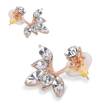 Fashion Double Sided Crystal Drop Flower Rose/Gold/Silver Stud Earrings-UKSeller