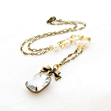 Rhinestone Pearl Necklace Bow Necklace Bride Jewelry Vintage Estate Style Jewel Bridesmaid Antique Brass - Isabelle