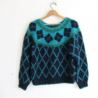 Vintage fall sweater. Fair Isle sweater. blue and green pullover. preppy sweater.