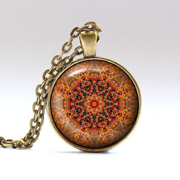 Hippie jewelry Colorful pendant Buddhist necklace OWA22