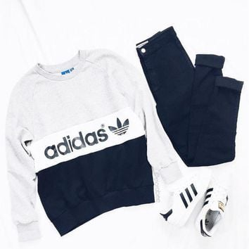 shosouvenir  : Adidas Women Fashion Round Neck Top Sweater Pullover Sweatshirt