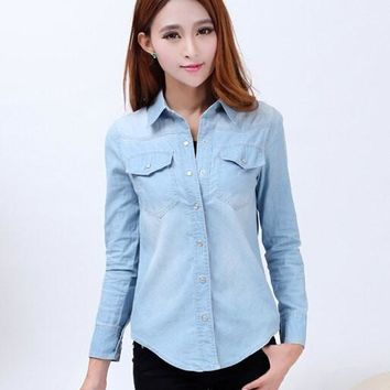 New Spring Woman Denim Shirts Fashion Style Long Sleeve Casual Shirt Women 2 Colors Blouses Plus Size Blusa Jeans Feminina