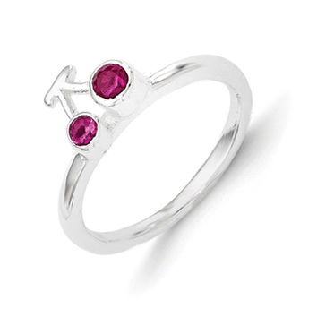 925 Sterling Silver Synthetic Ruby Double Cherry Girls Ring