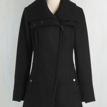 Military Long Long Sleeve Diagonal Alley Coat in Black by Steve Madden from ModCloth
