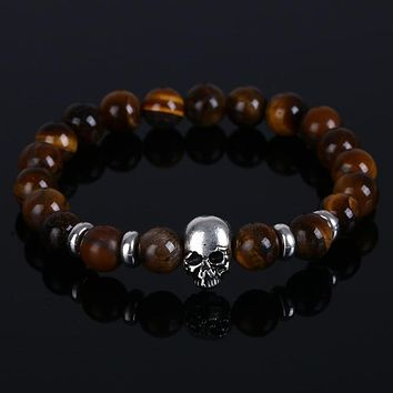 Skull Natural stones Lava and tiger eye stone beads Bracelets
