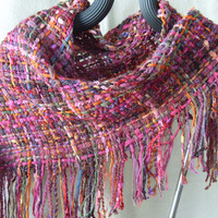 Handwoven Triangle Scarf, Sunset in the North Country, Cowl, Shawl, Wrap, Woven