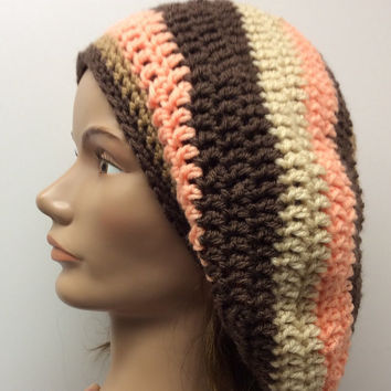 Slouchy hat, Rasta hat, hippie hat, winter hat, dread tam, hand crochet, handmade, tan, peach, brown, gift idea, boho,