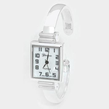 Square Dial Hinged Cuff Metal Watch
