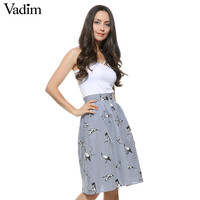 Women sweet birds print mid-calf striped skirts open stitch buttons design summer casual streetwear skirts BSQ476