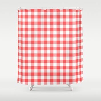 gingham red pattern Shower Curtain by jessycat