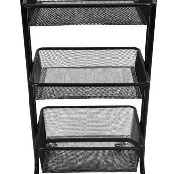 Home Kitchen Bedroom Storage Utility Cart (Black)