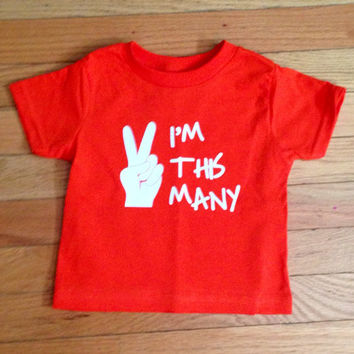 "T-Shirt for A Two-Year-Old - ""I'm This Many"" - Birthday Party/Gift"