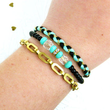 Triple Threat Friendship Bracelet Necklace in Aqua Mint