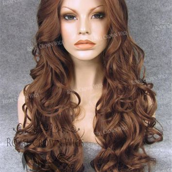 """26 inch Heat Safe Synthetic Lace Front Wig in Curly Texture """"Calypso"""" in Reddish Brown"""
