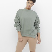 SO NECESSARY Zippered Slit Sweatshirt in Olive Green at FLYJANE