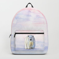 Polar bear in the icy dawn Backpacks by Savousepate