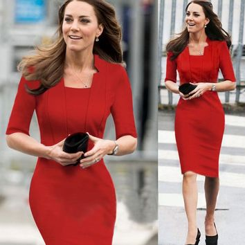JENYAGE Women Elegant Half Sleeves Summer 2019 Stand Collar Work Office Evening Party Kate Middleton Knee Length Formal Dress 40