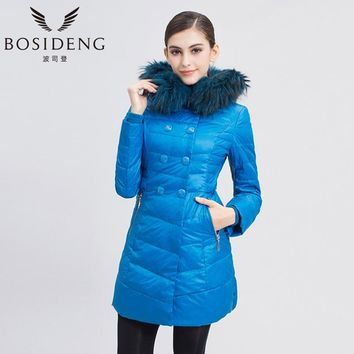 BOSIDENG Women Winter Down Coat Colored Fur Hooded Thick Long Jacket Zipper With Button B1301288S