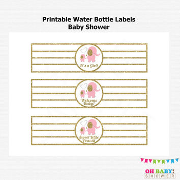 Pink Elephant Printable Water Bottle Wrappers, DIY Printable Labels, Pink Elephant Baby Shower, Pink Gold Baby, Instant download, EL0004-LPG