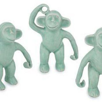 Smiling Ceramic Monkey Friends Figurines - Handmade in Thailand  (Set of 3)