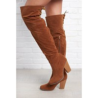 Kaylin Thigh High Boots (Tan)