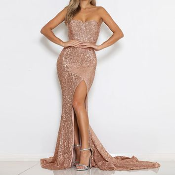 Sleeveless Sequined Maxi Dresses Split Front Champagne Gold Floor Length Party Dresses Sexy Maxi Dress Evening Gown Dress