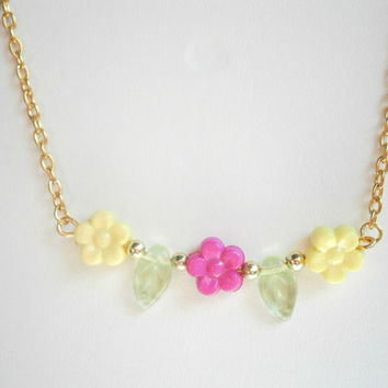 Flower Necklace - Nature Jewelry - Beaded Bar Necklaces - Hot Pink and Yellow - Colorful Necklace - Spring Jewelry - Gift for Girls