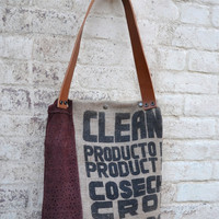 Repurposed Burlap Tote Bag - Coffee Bean Burlap Bag - Daily Tote Bag