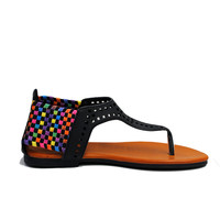 (amm) Laser cut black and multicolor thong sandals
