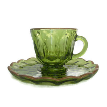 Vintage Fairfield Glass, Anchor Hocking, Cup and Saucer, Avocado Green, Gold Trim