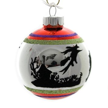 Shiny Brite HALLOWEEN SIGNATURE FLOCKED. Glass Ball Ornament 4026973S D