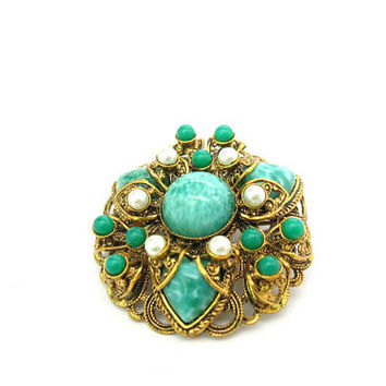 Peking Glass Brooch. Gold Gilt Filigree, Jade Green Art Glass, Faux Pearl Accents. Dome Shape. Made in West Germany. Vintage 1950s Jewelry
