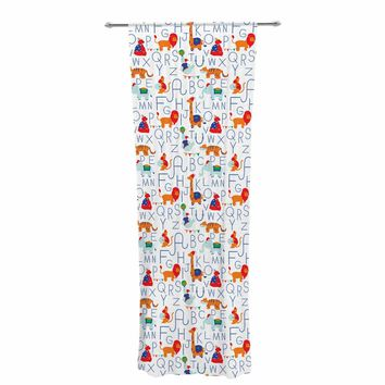 "Stephanie Vaeth ""Alphabet Circus"" White Blue Animals Pattern Illustration Vector Decorative Sheer Curtain"