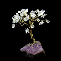 Bonsai Gemstone Crystal Wire Tree - Clear Quartz Leaves on Amethyst Crystals Base