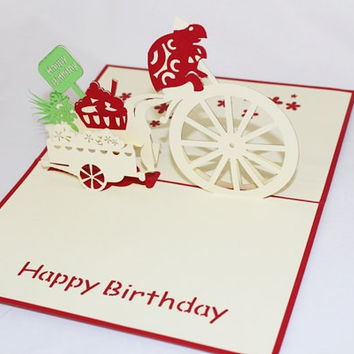 3D Birthday Turtle on Bicycle Pop Up Greeting Card GAS_0147