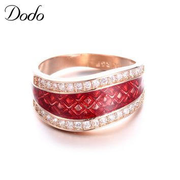 DODO Classic Wedding Rings For Women Red Color AAA CZ Stones Golden Alliance Fashion Jewelry Ring Bijouterie Anel KDR005