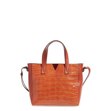 Vince Women's Signature Baby V Croc Embossed Leather Tote Bag