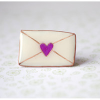 White Kawaii Envelope Brooch With Purple Heart  of Polymer Clay and copper wire Jewelry