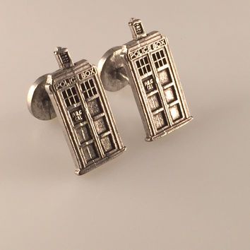 TARDIS Cufflinks, Doctor Who Inspired TARDIS Cuff Links, Police Box Cufflinks, Time Travler, Wedding Gift, Holiday Gift