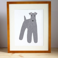 Kerry Blue Terrier Illustration - FREE US SHIPPING