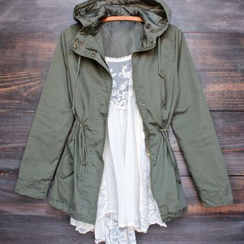 Womens Hooded Utility Parka Jacket with Drawstring Waist in More Colors