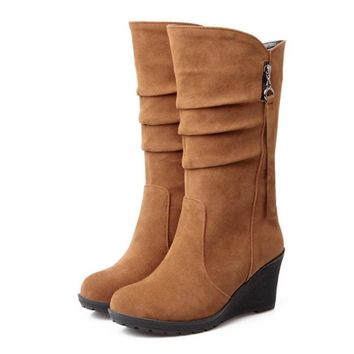 2016 Big size 34-43 high quality women shoes new arrivals mid calf wedges boots flock