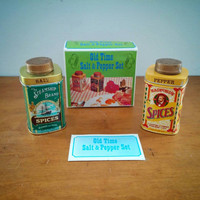 Vintage Old Time Salt & Pepper Set in box Retro