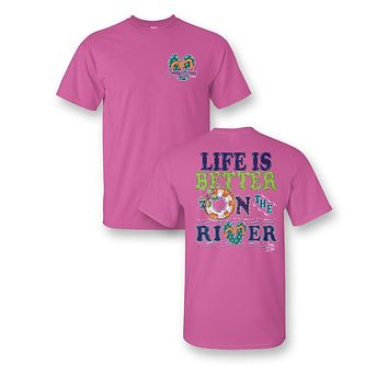 Sassy Frass Life is Better on the River Float Flip Flops Bright Girlie T Shirt