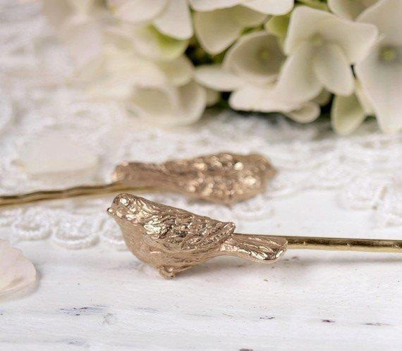 Beloved Bird Hair Pins in Solid Bronze by WoodlandBelle on Etsy