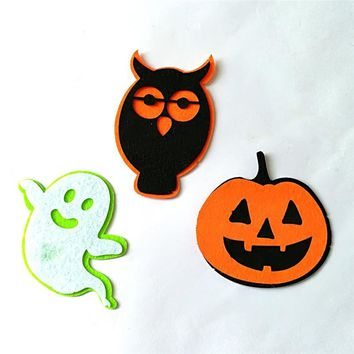 Halloween Ghost Pumpkin Owl Shape DIY Non-Woven Patches Wall Clothes Party Ornaments