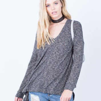 Casual Brushed Knit Hoodie Top