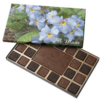 Blue Primroses Photo Mother's Day 45 Piece Assorted Chocolate Box