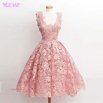 Blush Pink Lace Ball Gown Prom Dresses Women Party Evening Gown V-neck Zipper Back Tea-Length Dress