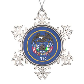 Snowflake Ornament with Utah Flag